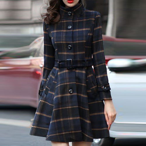 Woolen Coat Stand Collar Single-Breasted Belt Plaid Outwear