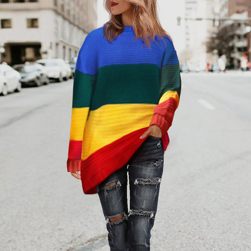 Casual Large-Size Loose Colorful Stripe Pullover Sweater