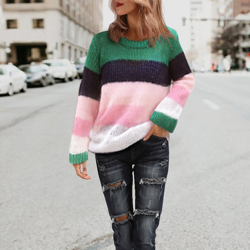 New Rainbow Stripe Color-Stitching Pullover Sweater