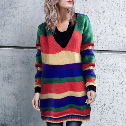 Fashion Loose Colorful Stripe V-Neck Long Sweater
