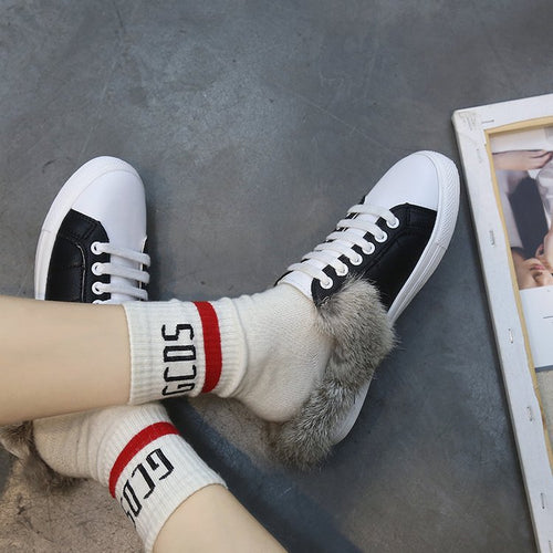 Autumn Fur Half-Length Casual Lace-Up Flat Shoes