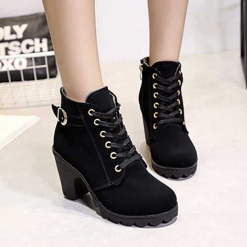 Fashion High Heel Solid Color Plush Martin Boots