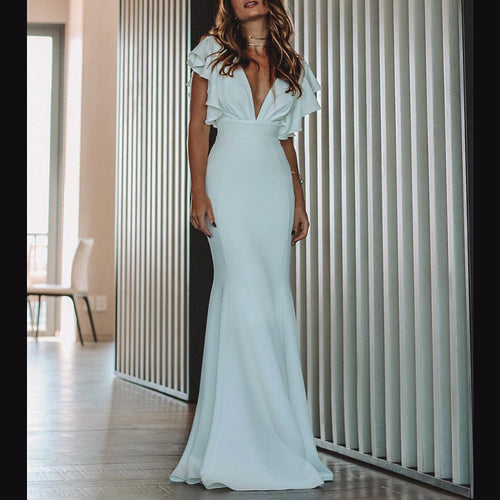 Deep V-Neck Pure Color Flared Sleeves Design Maxi Evening Dress