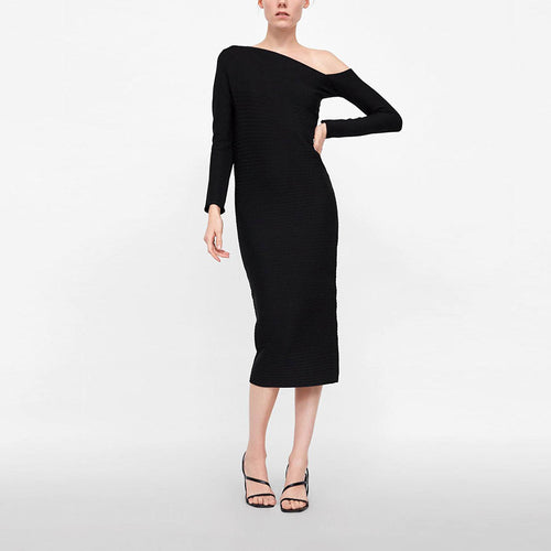 Off Shoulder Black Knitted Sexy Shift Dress