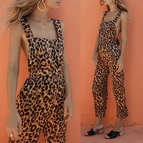 Leopard Printed Backless Sexy Jumpsuit