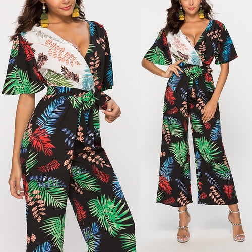 V-Neck Printed Patchwork Sexy Jumpsuits