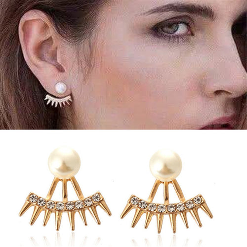 Punk Shiny Keen-Edged Pointed Diamonds Pearls Studs