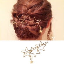 Load image into Gallery viewer, Metal Hollow Out Five-Pointed Star Contracted Hairpin