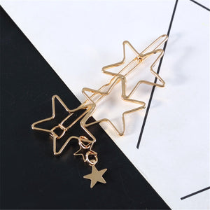 Metal Hollow Out Five-Pointed Star Contracted Hairpin
