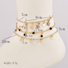 Load image into Gallery viewer, Beautiful Stars Fringe Embellished Multiple Layer Ankle Bracelet