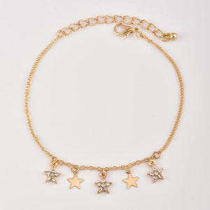 Beautiful Stars Fringe Embellished Multiple Layer Ankle Bracelet