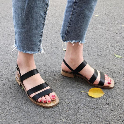 Chic & Retro Women's Square Head Beach Sandals