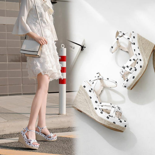 High Heel Rope Buckle Wedge Sandals