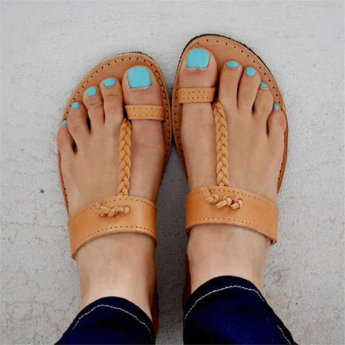 Toe Comfortable Flat Openwork Slippers