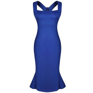 Square Neck  Fishtail Hem  Plain  Blend Bodycon Dress