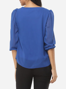 Plain Elegant Round Neck Blouse