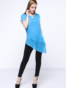 Round Neck Asymmetric Hem Keyhole Chic Plain Blouse