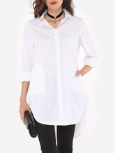 Load image into Gallery viewer, Plain Flap Pockets Pockets Elegant Awesome Button Down Collar Blouse