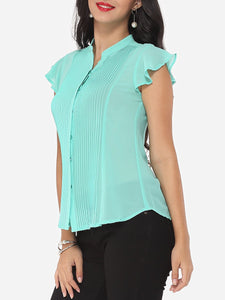 Plain Falbala Exquisite V Neck Blouse