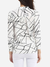 Load image into Gallery viewer, Loose Fitting Band Collar Chiffon Printed Blouse