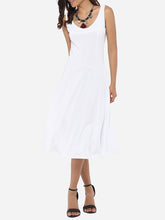 Load image into Gallery viewer, Scoop Neck Dacron Plain Skater-Dress