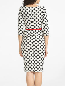 Boat Neck Cotton Polka Dot Printed Bodycon-Dress