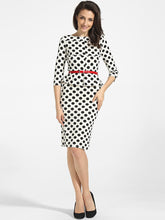Load image into Gallery viewer, Boat Neck Cotton Polka Dot Printed Bodycon-Dress