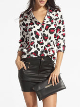 Load image into Gallery viewer, Turn Down Collar Single Breasted Leopard Printed Blouse
