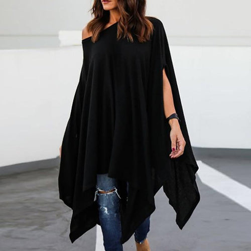 Loose Asymmetrical Hem Batwing Sleeve Shirt Casual Dress