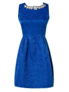 Jacquard Weave Graceful Round Neck Skater-Dress