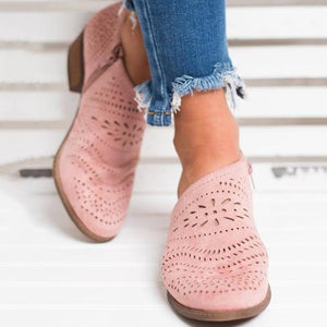 Hollow-Out Low Heel Cutout Causal Loafer Shoes