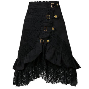 Decorative Lace Flounce  Decorative Hardware  Plain  Flared Midi Skirt