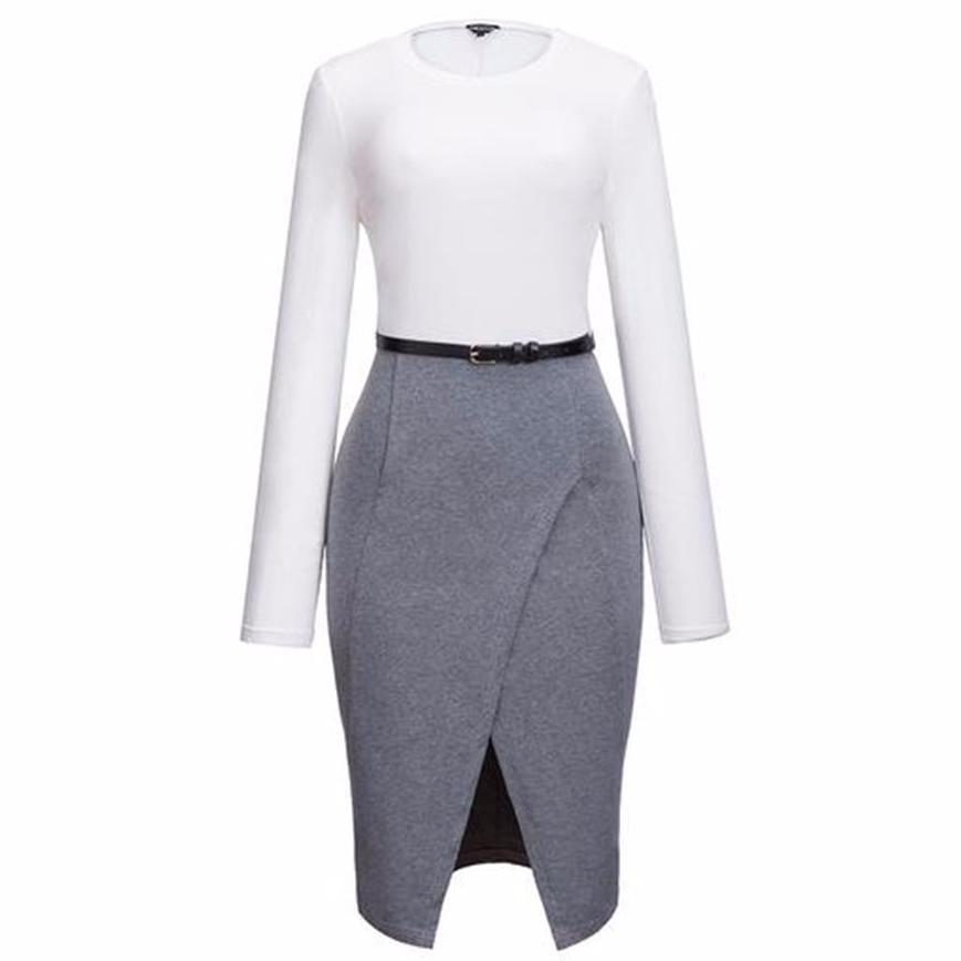 Elegant OL Crew Neck Split Belt Color Block Bodycon Work Dress
