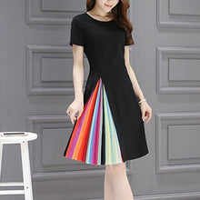 Load image into Gallery viewer, Round Neck  Ruffled Hem  Plain  Polyester Skater Dress
