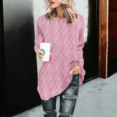 O-Neck Knitwear Solid Color Pullover Loose Grid Sweater