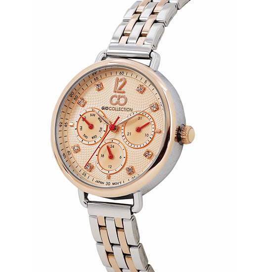 Gio Collection Rose Gold Dial Women's Watch - G2037-22
