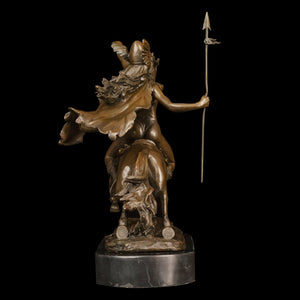 Fighting Woman with Spear Sculpture