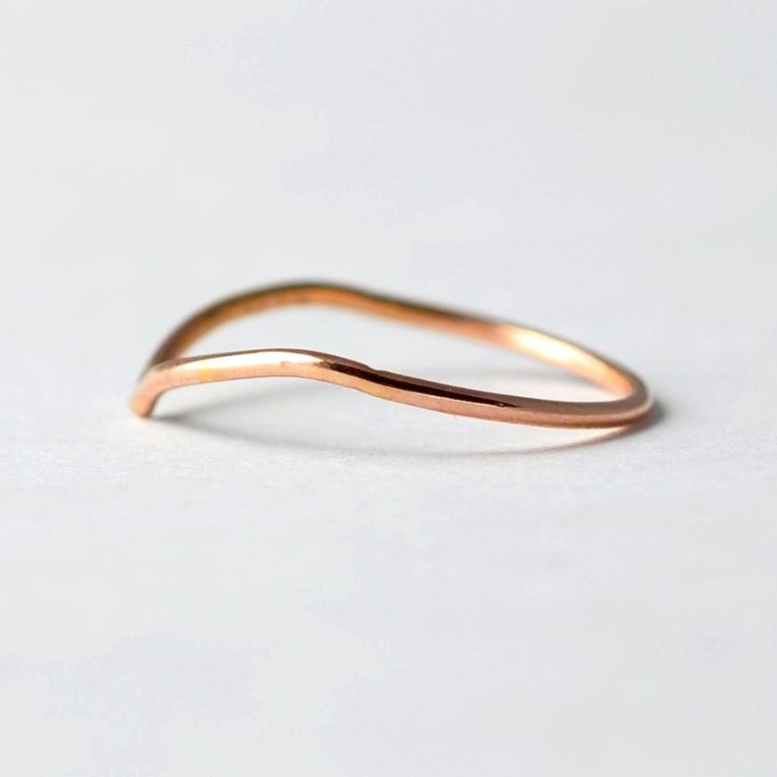 Geometric Ring: Rose Gold Filled V-Shaped Band, Boho Midi