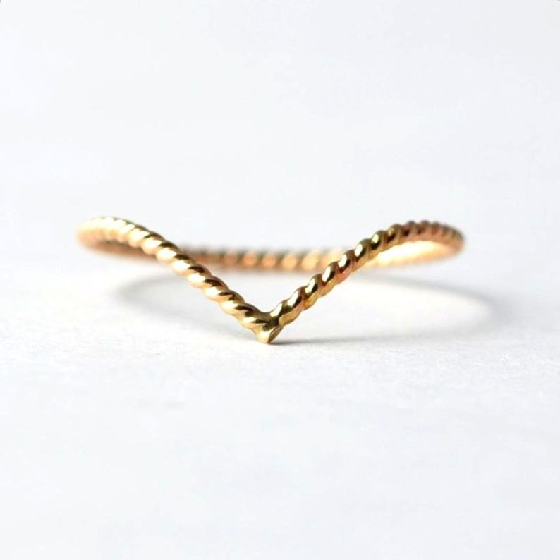 Twisted Chevron Ring: Yellow Gold Filled, Nautical Jewelry