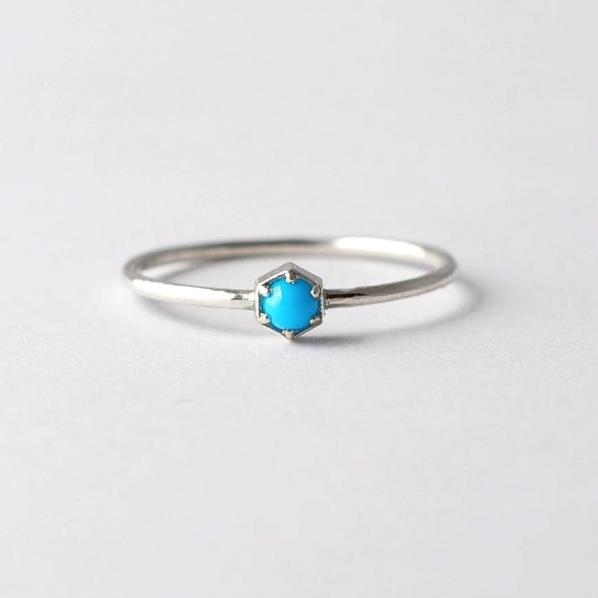 Hexagon Turquoise Ring: Sterling Silver, Best Anniversary Presents