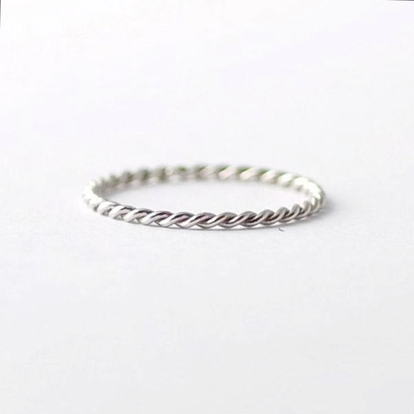Braided Platinum Twist Band: Simple Wedding Rings, Valentines Gift Ideas