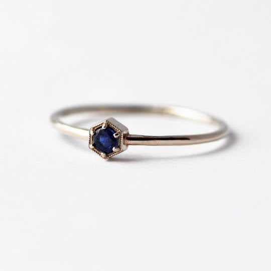 Blue Sapphire Ring: Hexagon, 14K Gold, Gifts for Wife