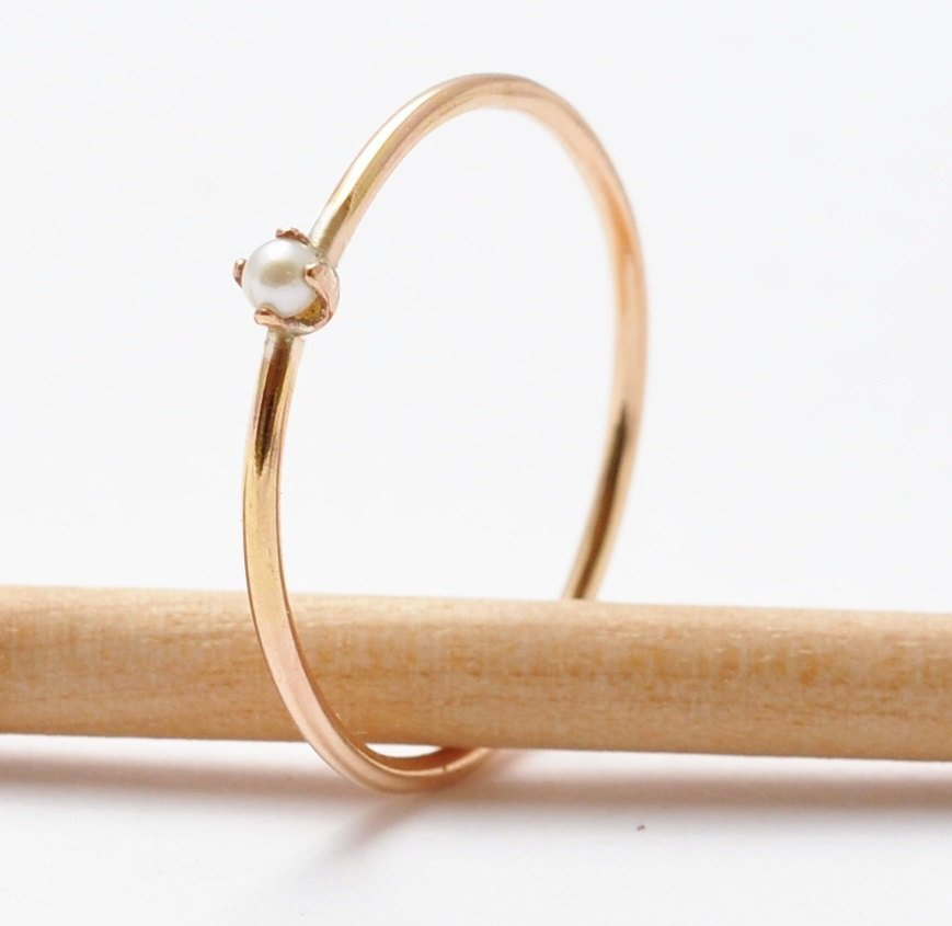 Gold Pearl Ring: White Pearl & 14K Yellow Gold Filled, June Birthstone