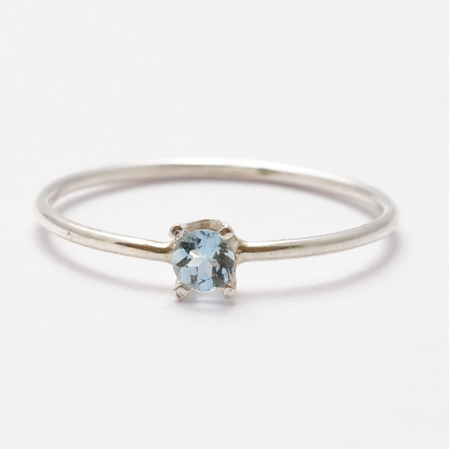 Aquamarine Ring: Simple Sterling Silver, Valentines Gifts for Teenagers