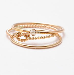 Thin Gold Rings: Seed Pearl Ring, Yellow Gold Band, Twist Knot Ring