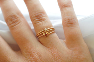 Stacking Rings: Yellow Gold Filled Pearl, Knot Ring & Twisted Band