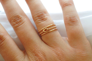 Yellow Gold Rings: Twist Knot & Gold Bands, Valentines Gifts Under 50 Dollars
