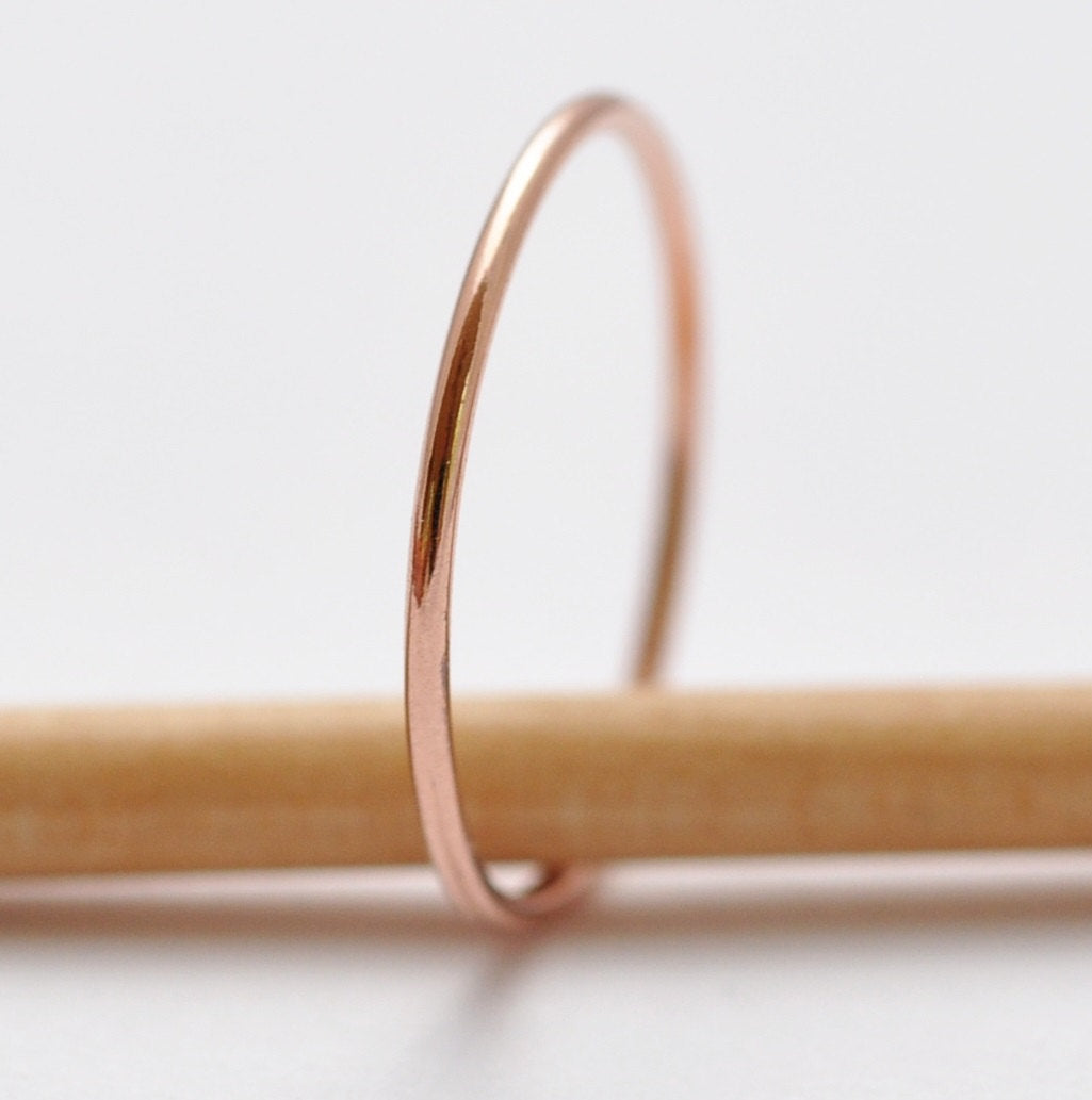 Simple Wedding Rings: 14K Rose Gold Band, Valentines Gifts