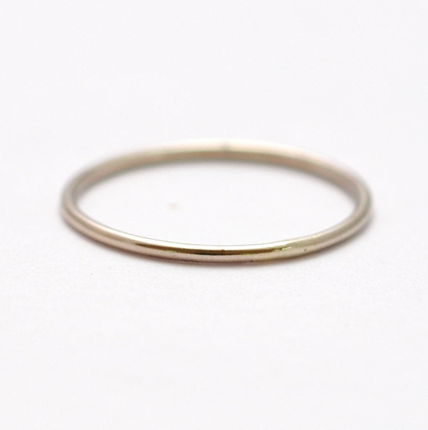 White Gold Wedding Band: 14K Thin Ring, Valentines Present Ideas