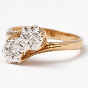 Gold Diamond Rings: Vintage 9K, Size 4.75